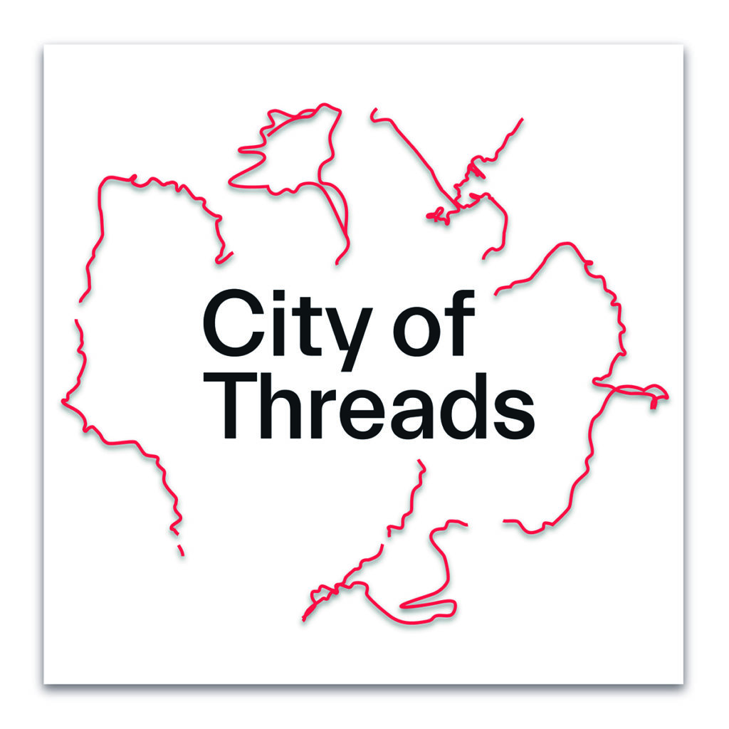 The City of Threads logo is square in shape with the words City of Threads situated in the centre; black text on white background. Fine red wiggly lines emanate out from the title words, tracing fragments of actual journeys featured in the podcast.